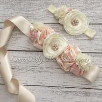 baby girl luxe - Satin Flower Sash Matching Baby headband Luxe Sash Queenbaby Sash Belt set