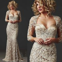 Wholesale China Lace Mermaid Mother of the Bride Dresses Long Sleeve Beads Ladies Formal Dress Floor Length Champagne Stunning Evening Gown M1792