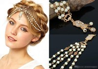Women metal ornaments - 2015 Cheapest Fashion Wedding Bridal Hair Accessories Metal Beaded Pearl Head Chain Indian Hair Jewelry Women Bridal Crown Ornaments