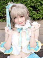 bang love - Grey South bird Cosplay wig new South Korean air thin bangs wig long curly synthetic wigs cheap party wigs Love Live