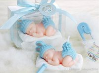 Wholesale 2015 New D Sleeping Baby candles flameless candles Baby birthday party Baby Shower Favors red blue color