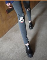 women winter tights - Korean Causal Women Leggings D Mickey Head Patchwork Winter Tights Leggings Warm pencil pants free Size Leggins Lovely Black Legging