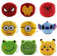 Wholesale 100pcs new arrive designs QQ expression minion spiderman Iron man Coin Purses cute emoji coin bag plush pendant smile wallet D453