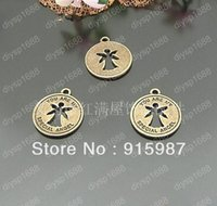 Wholesale 100pcs mm Ancient bronze Angel wings pendants Jewelry Charm Pendants Findings Fit Jewelry Making Free shopping