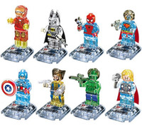 Wholesale 8pcs New Crystal Super Heroes The Avengers Superman Minifigure Figures Building Block Minifigures children DIY Toys without package box