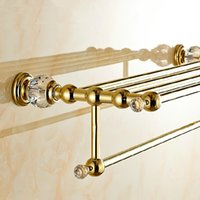 Wholesale Wall Mounted Brass Crystal Golden Towel Rack Gold Towel Bar Towel Holder Bathroom Accessories