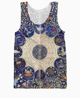 astrological horoscopes - w151231 RuiYi Horoscopes Tank Top Sun Moon planets astrological aspects and sensitive angels print vest jersey running shirt for women