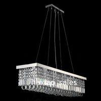 Wholesale Modern Rectangular Crystal Chandelier Dining Room Length Multiple Size LED Cyrstal Pendant Light Ceiling Lamp Chandiliers Lighting