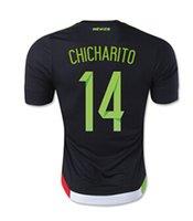DHL freeshipping Wholesale de México Jersey 2015 Inicio Negro 14 CHICHARITO G. DOS SANTOS 15/16 fútbol jerseys México Tailandia