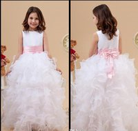 Actual Images flower girl dress party - Princess Little White Jewel Neck Flower Girl Dresses Ruffles A Line Satin Organza Cheap Girl Dress for Wedding Party Gowns With Pink Bow