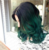 Wholesale HOT dark green ombre wig dark black roots short bob wig cheap curlywig synthetic lace front wigs heat resistant hair