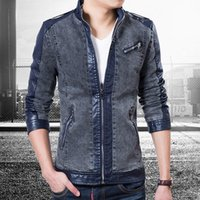 assemble lines - Fall In High end denim fabric PU leather jacket assembled European special line shipping plus size color