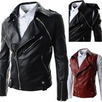 Wholesale 2015 Oblique zipper men s Jacket pu Leather Jacket motorcycle men s outwear casual mens coat Large lapel Detachable mens jacket black