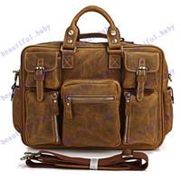 Wholesale Hot SaleLarge Genuine Leather Briefcase Leather Duffle Travel Bag Laptop Messenger Bag Men s Handbag