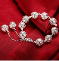 beaded spheres - hot fashion sterling silver bracelet dimensional sphere