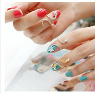 nail jewelry - Cute Star Butterfly Snake Starfish Twisted Above Knuckle Finger Nail Rings for womens Girls Jewelry silver golden Colors infinity RING