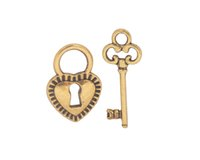 Wholesale 60 Sets of Antiqued Style Metal Heart Lock Key Charms