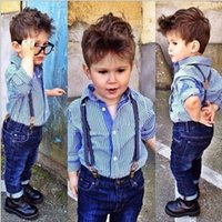 baby boy denim jacket - New Season Boy Sets Autumn Baby Boy Outfits Kids Cool Sets Striped Shirt and Suspender Denim Pants Suits Kids Fashion Clothes
