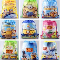 Wholesale 34x27cm Retail Despicable Me drawstring bags backpacks handbags children school bags kids shopping bags Gift present mixed styles hot sale