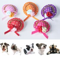 Wholesale Cute Pet Cat Dog Hair Clips Cap Dog Grooming Tool Cloth Handmade Hair Bows Hat Pet Princess Accessories