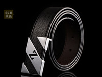 Wholesale arrival high qdesigned brand uality fashion gold plated buckle belt silver plated Z type genuine leather men blet