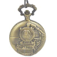 Wholesale Japen PG21J Quartz Movement Pocket Watch Casual Locomotive Carve Patterns Case With Chain Mens Watch Timepieces As Gift For Celebration