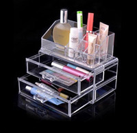 acrylic cosmetics display - Hot Fashion Transparent Crystal Storage Box makeup Organizer Cosmetic Acrylic Clear Jewelry Display Case Jewelry Box LJJD2470