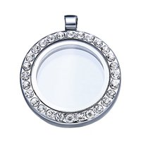 floating charm locket necklace - Floating Locket Pendant Living Memory Glass CZ Crystal Paved Round Circle Pendant Charms Necklace DIY Jewelry