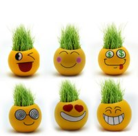Wholesale 100PCS LJJHH751 QQ Emoji expression mini plants magic grass planting bonsai green plants potted gift Flower Seeds