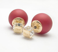 ear pin - 10pieces Pairs X LOGO Celebrity Runway Double Pearl Beads Crystals Plug Earrings Ear Studs Pin nickel free