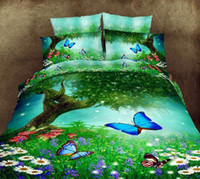 bedspread double cotton - 3D Butterfly green tree bedding set quilt duvet cover queen size full double bedspread bed sheet linen doona bedsheet beautiful