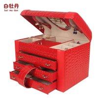 Wholesale White peony jewelry box princess fashion leather cosmetic box jewelry box wood married birthday gift