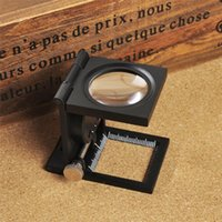 Wholesale Foldable Scale Magnifier LED Illumination Light Printing fabric x Magnification Lupa Optical Lenses Magnifying Glass pc