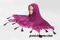 Wholesale 2015 New Purple Hijabs Muslim Women Prom Head Scarves Flowers Islamic Cotton Fringe per Turkey Girls Women Full Cover Hood Wraps