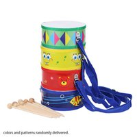 beat delivery - Colorful Cute Wooden with Plastic Paper Snare Drum Sound Beat Musical Instrument Toy Gift for Baby Kid Color Random delivery order lt no tra