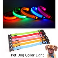 Wholesale LED Flashing Pet Collar Light Up Nylon Flash Necklet Luminous Fluosescent Collars For Dog Kitty Kitten Cat