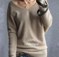 sweater - autumn winter cashmere sweater for women fashion sexy v neck sweater loose wool sweater batwing sleeve plus size S XL pullover