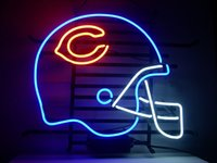 beer football helmet - FOOTBALL HELMET BEARS REAL GLASS TUBE NEON DISCIPLELIGHT BEER BAR WALL SIGN GAMEROOM CLUB GARAGE
