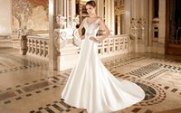 Cheap 2015 Satin A Line Wedding Dresses Sculpted V Neckline Back Sleeveless Covered Button Beaded Belt Bridal Gowns Chapel Train Demetrios 3224
