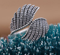 Cheap Vintage Feather rings 100% 925 sterling silver & cubic zirconia 20116 Newest European DIY fashion rings fits for pandora charms jewelry
