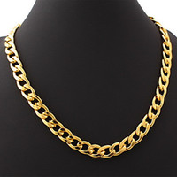 Europe; American chain stainless steel - fashion simple L stainless steel plated k gold thick chain necklace for men SP00807