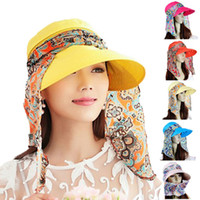 Wholesale Creative Fashion Women Lady Folding UV Protection Roll Up Wide Brimmed Beach Hat Printed Silk Scarf Casual Multi Change Sun Hat