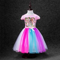 Wholesale Frozen selling children s new dress Lovely girl clothing shape colour gauze children s short sleeve dress color PC generation delivery