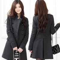 Wholesale 2014 New Fashion Women Winter Wool Blends Long Coat Black Grey Double Breasted Winter Warmly Slim Jacket LD0620