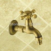 Wholesale Garden Bibcock faucet tap crane Antique Brass Finish Bathroom Wall Mount Washing Machine Water Faucet Taps ZLY