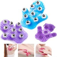 Wholesale 9 Metal Rolling Balls degree Manual Hand Massager for body Care Glove hand massger lose weight slimming massager Random Color