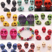 Wholesale 25pcs Loose Man made Turquoise Skull Spacer Beads For Bracelet You choose color