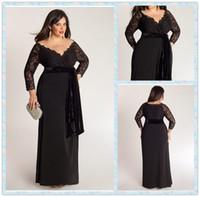 Wholesale Elegant A Line Plus Size Special Occasion Dresses Lace Top Sash Off Shoulder V Neck Long Sleeve Ankle Length Ladies Formal Prom Gowns