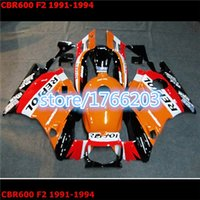 Cheap fairing for HONDA CBR600 F2 91 92 93 94 CBR600F2 1991 1992 1993 1994 CBR 600 F2 91-94 fairing kits orange black white red