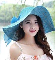 folding straw hat - Hot Folding Sun Helmet Hollow Straw Hat Womens Summer Beach Cap Bow Ribbon Hats Wide Brim Floppy Hat Colors